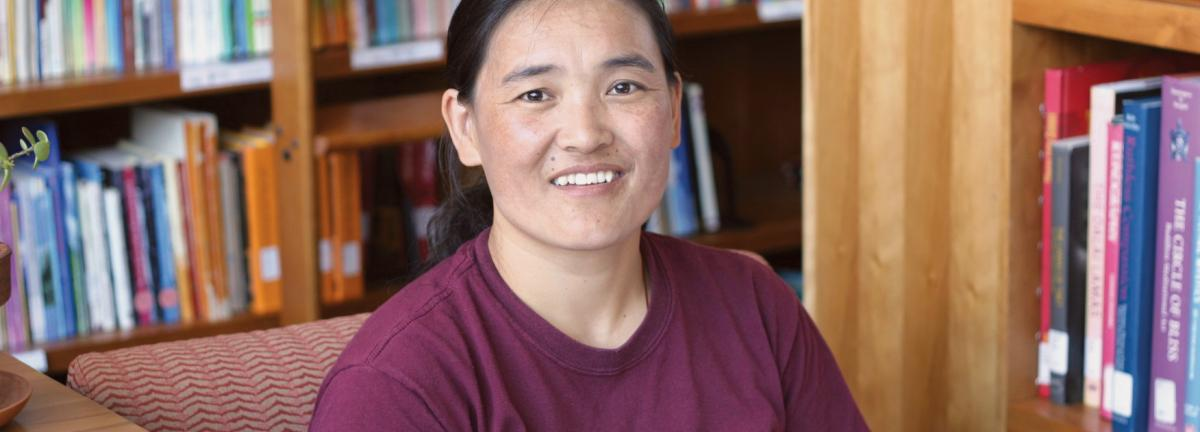 Kelsang Kyi, a Trace Foundation scholarship recipient in our library